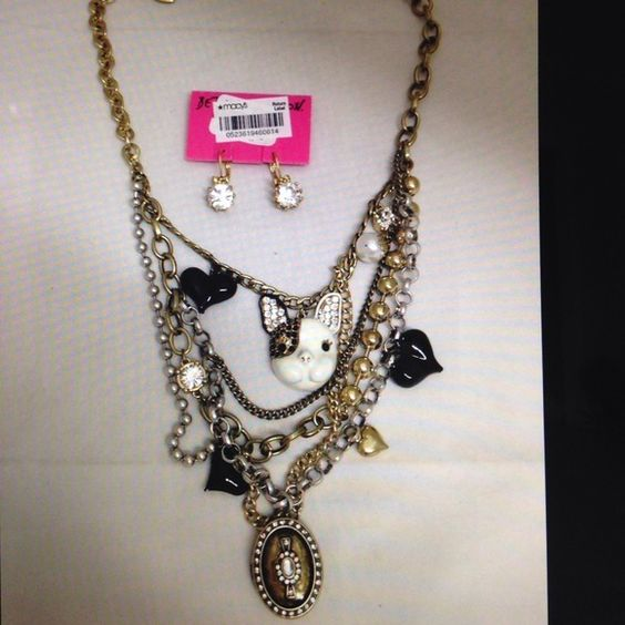 Betseyjohnson jewelry Beautiful multi layer necklace with charms and earrings and bracelet Betsey Johnson Jewelry