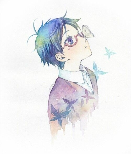 Anime boy with blue hair and glasses. He likes butterflies apparently<<< Well he likes penguins more. <<<< I see what you did there~