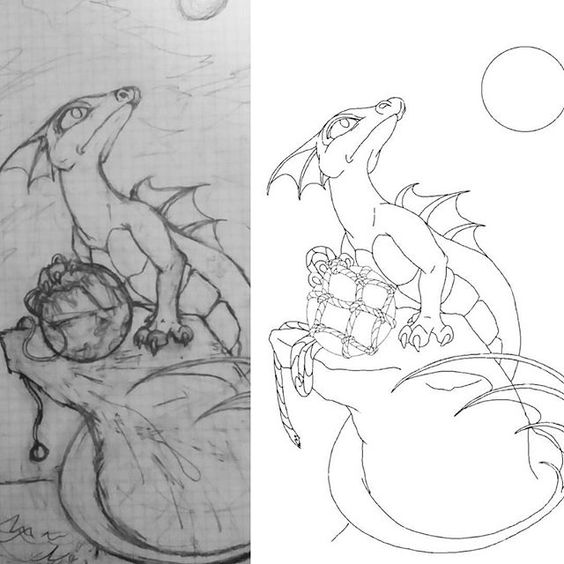 New Sea Dragon. Side-by-side of pencil sketch and cleaned up line art ready for the canvas. #workinprogress #art #painting #drawing #draw #illustration #artist #dragonart #dragonpainting #dragon