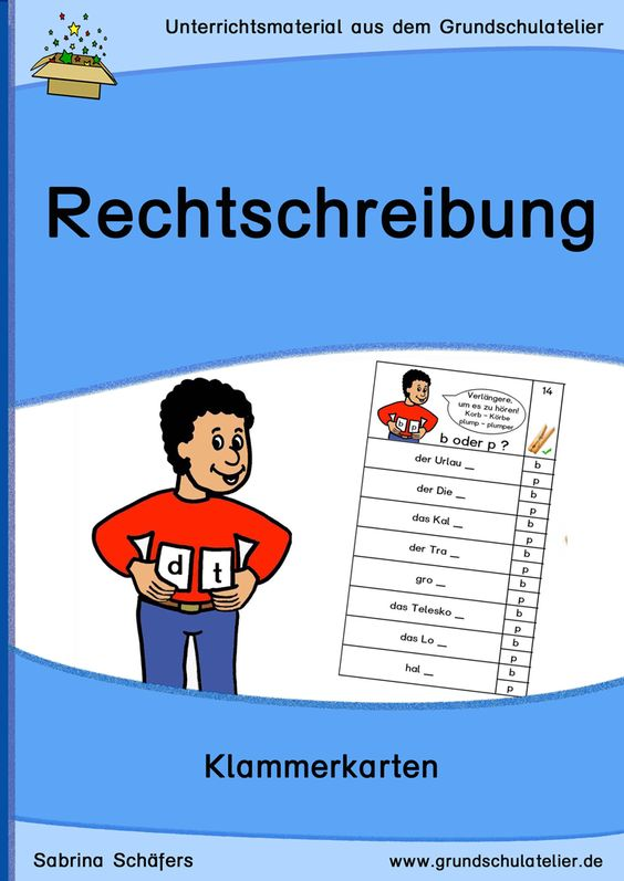 Unterrichtsmaterialien zur Rechtschreibung: 32 Klammerkarten zu den Rechtschreibschwerpunkten Auslautverhärtung, Doppelkonsonanten 19 Seiten, pdf-Format, Klassen 2-4
