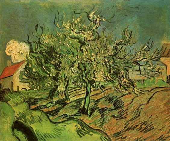 Landscape with Three Trees and a House by Vincent van Gogh – 1890