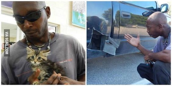 This 50 year old man cut this kitten out of his car once he heard it making noise.