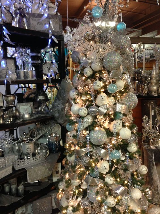 Blue & White Winter Themed #Holiday #Decor and #Christmas Tree at Art Knapp in Kamloops!  http://artknappkamloops.com/