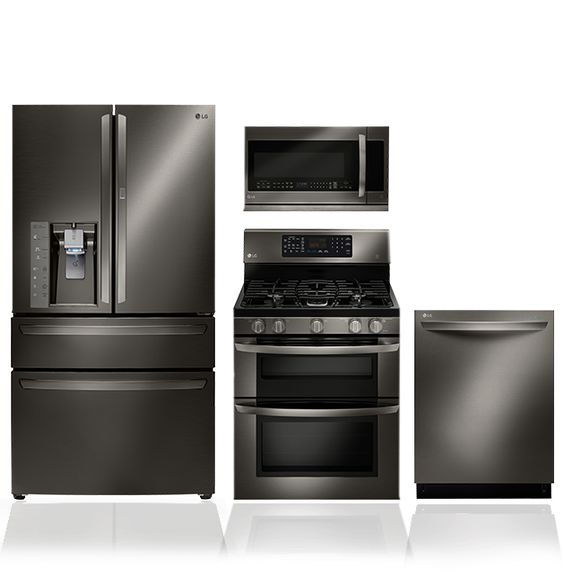 Black stainless steel stainless steel and steel on pinterest for Dream kitchen appliances