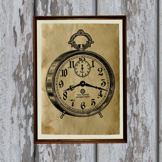 Vintage alarm clock art print on handmade antique paper.  Beautiful 8.3 x 11.7 (A4) antiqued decor for your home and office.  Two color choices - dark