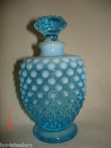 Fenton Blue Opalescent Hobnail Vanity Perfume Cologne Bottle 1940-1955 $24.52
