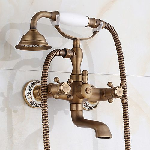 Bathroom Wall Mounted Mixer Tub Filler Shower Faucet Sets Telephone Shaped Handheld Shower Tub Faucet Double Crosss Handle 2020 Us 137 49 Copper Bathtub Faucet Tub And Shower Faucets Shower Faucet Handles