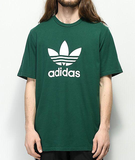 Adidas Trefoil Green T Shirt Zumiez Adidas Trefoil Shirts T Shirt
