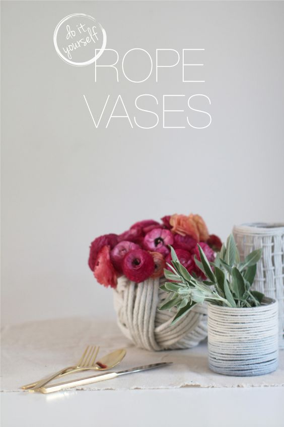 DIY Rope Vases from Style Me Pretty #smpathome
