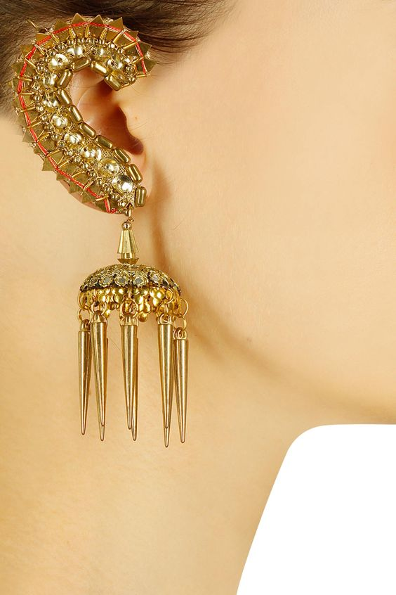 Gold plated mirror and spikes jhumki earrings available only at Pernia's Pop Up Shop.