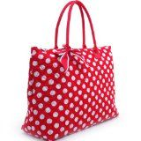$22.99 Dasein Large Quilted White Polka Dotted #Tote w/ Ribbon Accents -Red