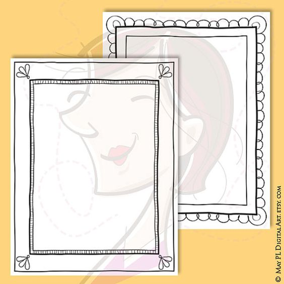 document page hand drawn border 8x11 digital pencil decorative black doodle digital picture frame retro illustration