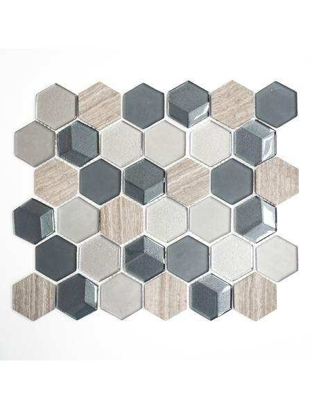 Mosaikmatte Hexagon Crystal Stein Mix 3d Grau 26x30 Cm Hexagon Fliesen Fliesen Mosaik