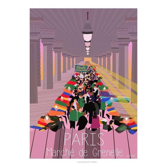 Paris Marche De Grenelle La Motte Picquet Affiche Paris Affiches Retro