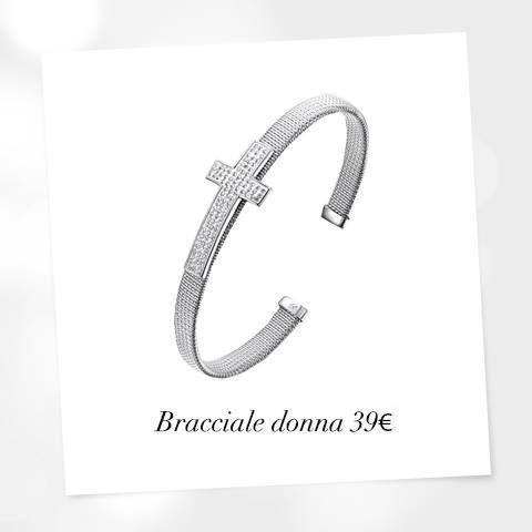 Bracciale in acciaio con croce in resina e cristalli bianchi. #braccialedonna #gioiellidonna #lucabarra #fashion #style