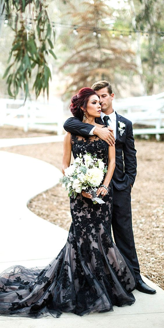 Gorgeous Black Wedding Dresses ❤ See more: http://www.weddingforward.com/black-wedding-dresses/ #weddings