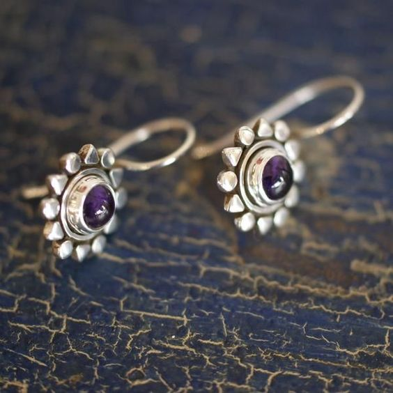 Mexican Silver Sun with Stone Earrings