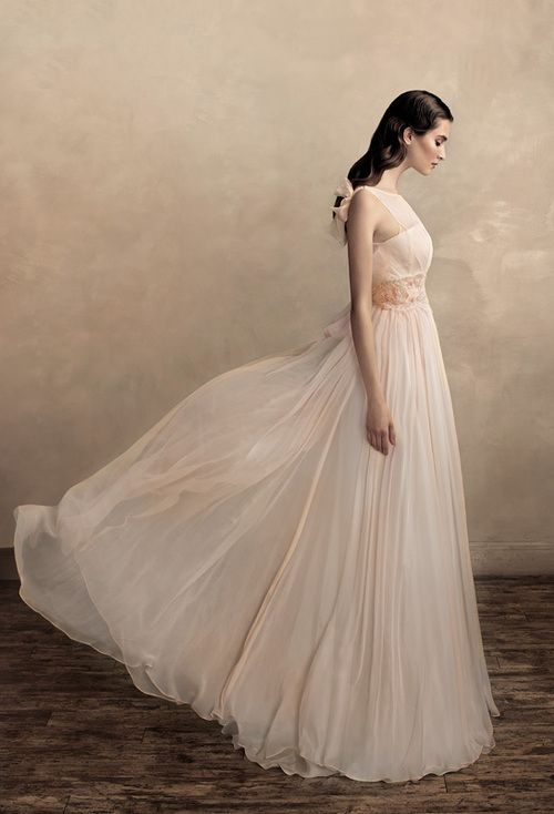 Sweet blushing tone wedding dress