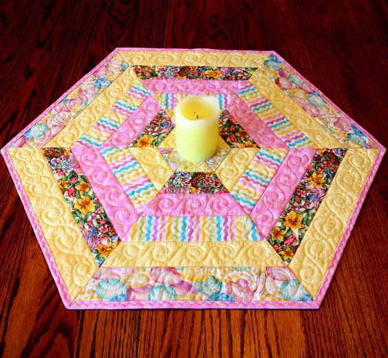 Hexagon Quilted Easter Table Topper or Candle Mat, Table Runner ...