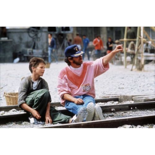 Christian Bale and Steven Spielberg on-set of Empire of the Sun...