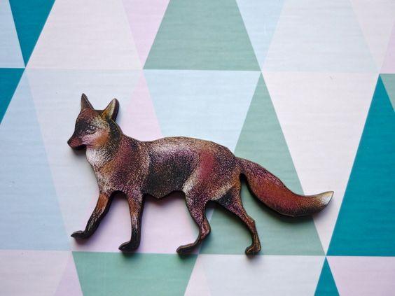 Waldfreund ❥ Fuchs Holz Brosche Anstecker   von MiMaMeise ♥  auf DaWanda.com