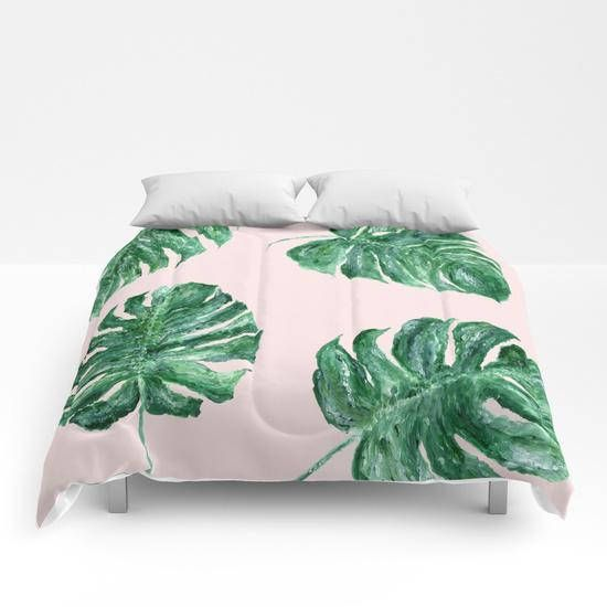 This Is A Comforter With My Design Printed On It Please Choose Your Size In The Drop Down Menu Above Twin Twin X Pink Comforter Modern Comforter Pink Leaves