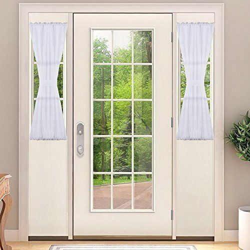 Sheer French Door Curtain For Window Nicetown Elegant Solid Voile Rod Pocket 30 Nicetown Front Door Curtains Sidelight Curtains Curtains