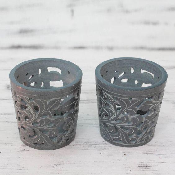 Novica Set of 2 Handcrafted Soap 'Midnight Garden' Candleholders