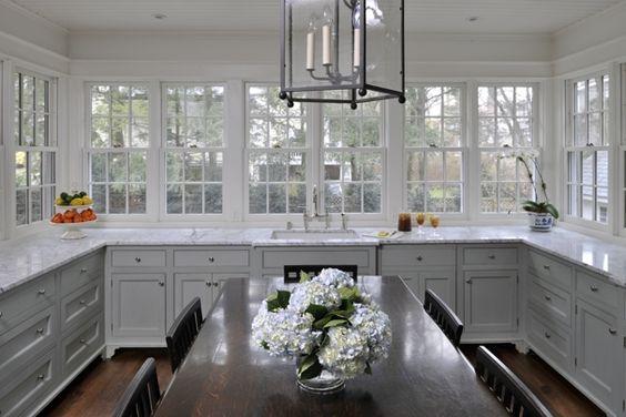 Wall of windows kitchen.