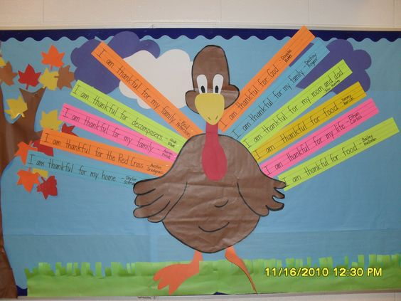 Students write what they are thankful for on writing strips to make turkey feathers