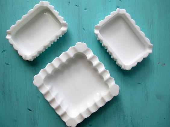 Fenton Milk Glass Hobnail Ashtray/Dish Set of by mymilkglassshop