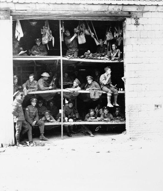 Men of the 4th Canadian Mounted Rifles in their billet, which had previously been a barn in Carnecy, Pas-de-Calais/October 1917