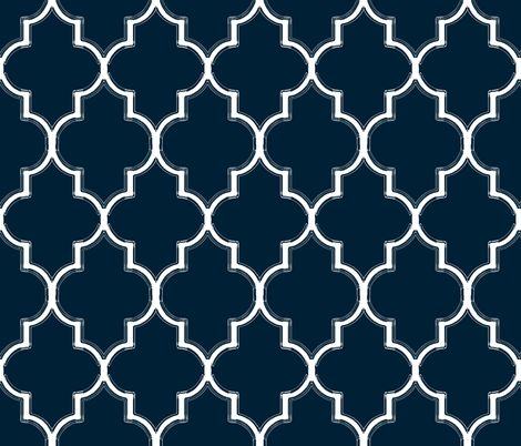 Navy Ogee Flourish fabric by sparrowsong on Spoonflower - custom fabric dining chair re-upholstery project
