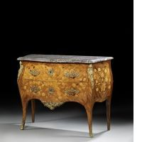 A LOUIS XV ORMOLU-MOUTED, TULIPWOOD AND FRUITWOOD COMMODE, STAMPED BY PIERRE ROUSSEL