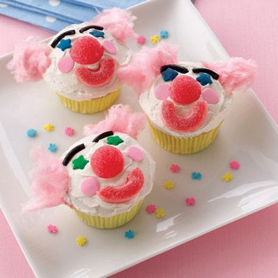 These cupcakes are sure to be a hit at your next party. A big red nose and cotton candy hair will put a smile on everyone's face.