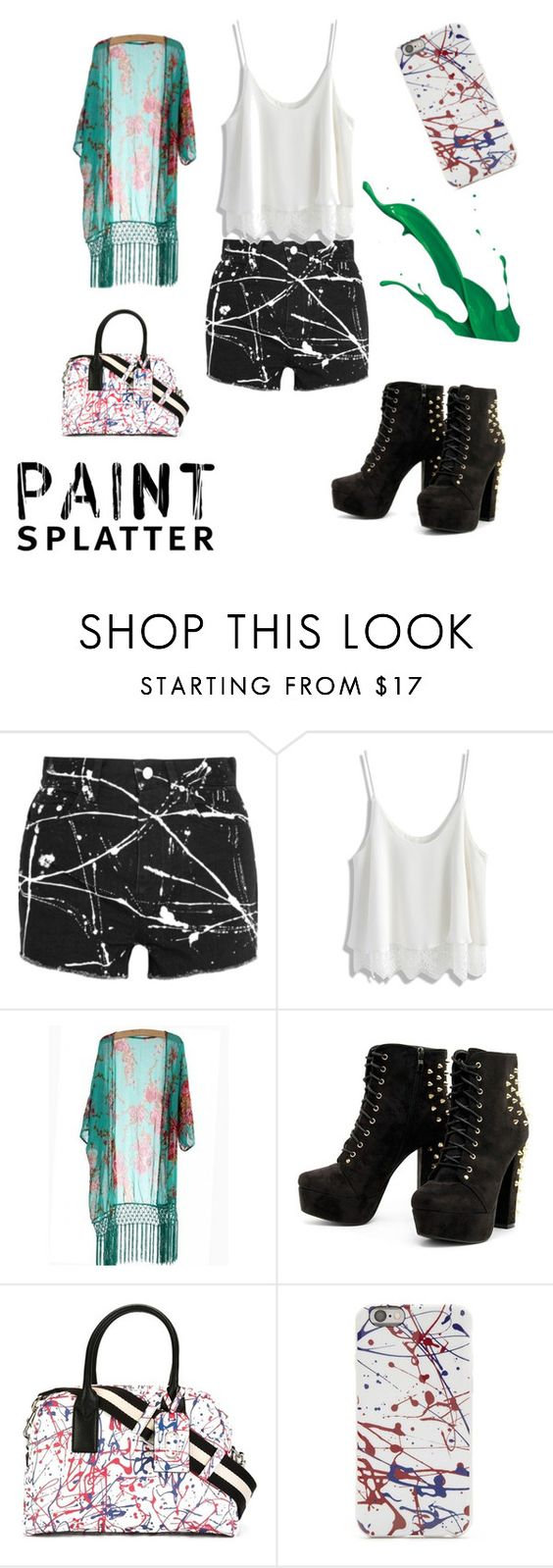 """""""Untitled #26"""" by shaquasiamoore ❤ liked on Polyvore featuring Yves Saint Laurent, Chicwish, Marc Jacobs and paintsplatter"""