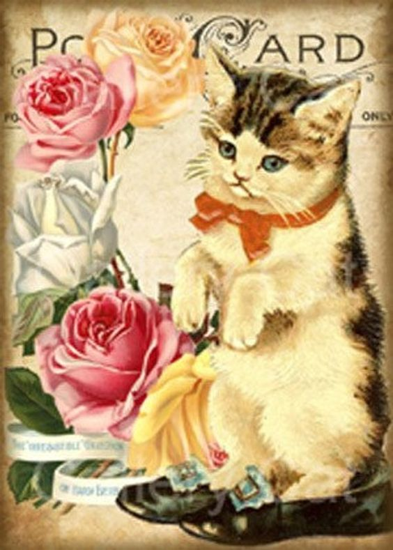 Victorian Kittens And Roses Digital Collage Sheet Instant Download