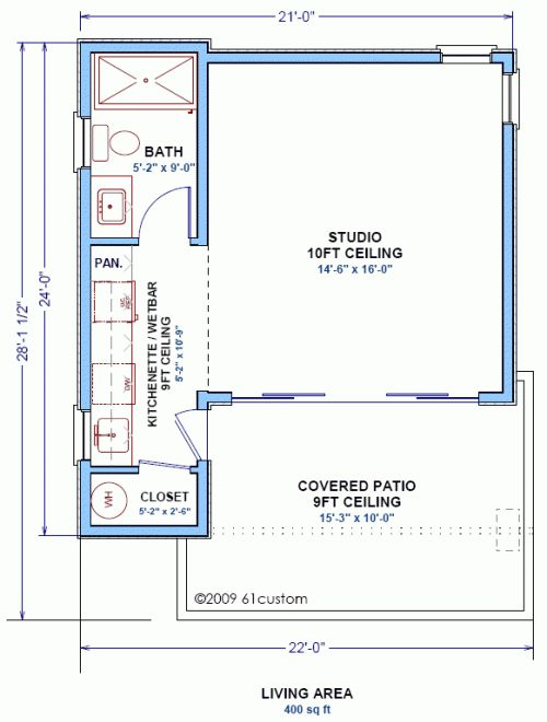 The studio400 plan is a single room modern guest house for Studio guest house plans