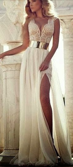 Beaded Prom Dresses,White A-line Long Beaded Prom Dresses,Slit Formal Dress,White Wedding Dresses,Chiffon Prom Gowns With Belt