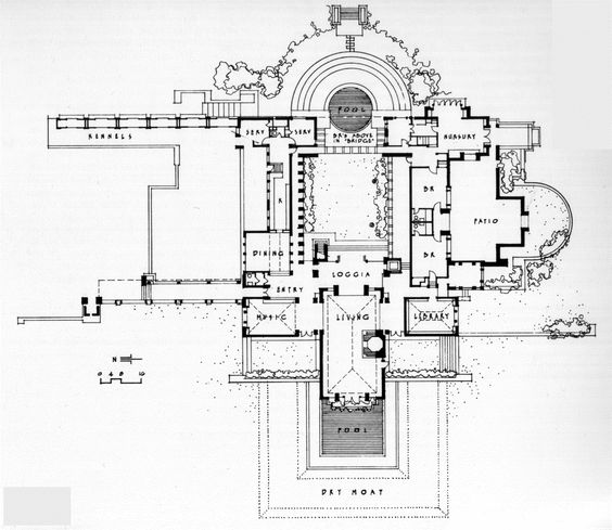 Plan aline barnsdall hollyhock house 1921 east Frank lloyd wright floor plan