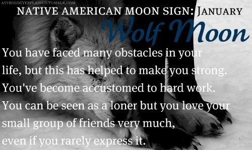 January - Wolf Moon (Native American Moon Sign)