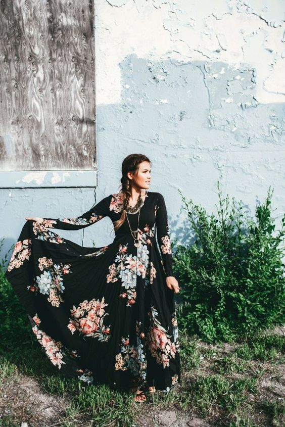 Free People First Kiss Garden Black Floral Boho Maxi Dress S Rare #FreePeople #Maxi: