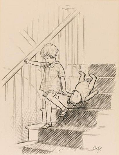 """Here is Edward Bear, coming downstairs now, bump, bump, bump, on the back of his head, behind Christopher Robin"", is the very first depiction of Winnie the Pooh with Christopher Robin. It originates from Milne's 1926 book Winnie the Pooh, and is the original pencil sketch that proved instrumental in making the book a success.:"
