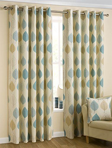 Homescapes Duck Egg Blue Cream Eyelet Ring Top Cotton Curtains ...