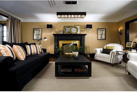 Elegant Colin And Justin: Black And Gold Living Room Is Good To Go | Cream Sofa,  Black Curtains And Homesense