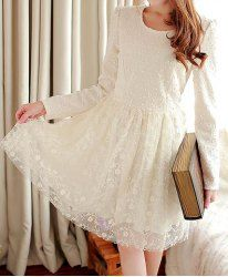 Ladylike Scoop Neck Lace Splicing Beading Long Sleeves Dress For Women (BEIGE,M) | Sammydress.com