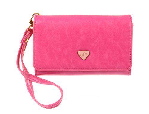 KISS GOLD Uni Handytasche Geldbeutel mit Handschlaufe für Apple iPhone Samsung Galaxy Note usw Rosenrot