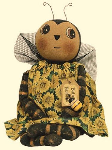 New Primitive Country Folk Art Tea Stained BABY BUMBLE BEE DOLL Sunflower Dress