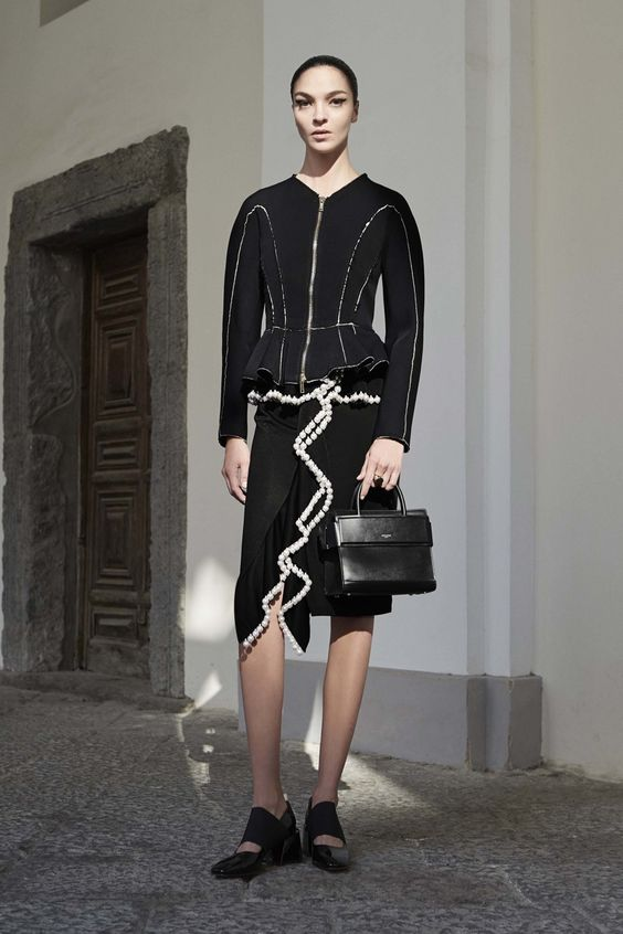 Givenchy Resort 2017: Peplum jacket with embellished skirt and ruffles