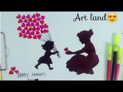 رسم لعيد الأم رسم ام وبنتها رسم ام وطفلتها Mother And Daughter Drawing Youtube Happy Mothers Art Happy